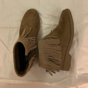 Women's tan ankle boots with fringe